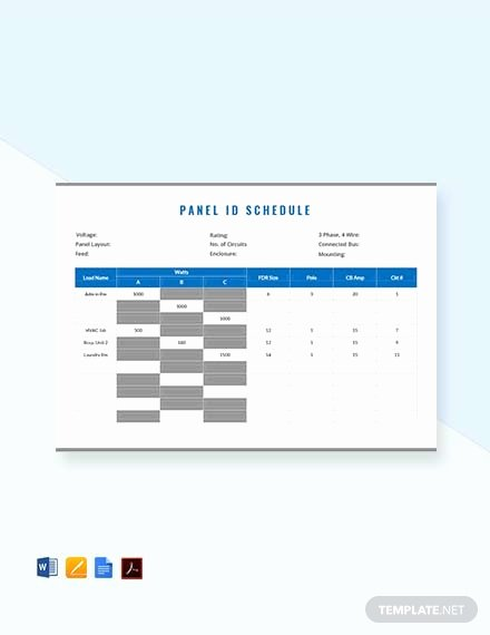 Panel Schedule Template Excel New Free Electrical Panel Schedule Template Download 173