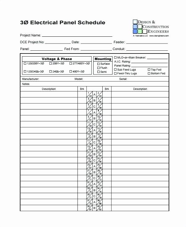 Panel Schedule Template Excel Unique Electrical Panel Directory Template – Automotoreadfo