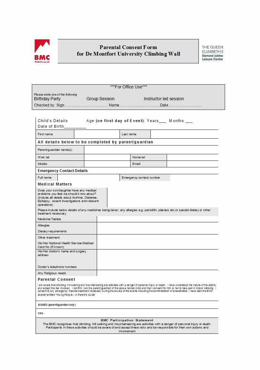 Parent Release form Template Awesome 50 Printable Parental Consent form & Templates Template Lab