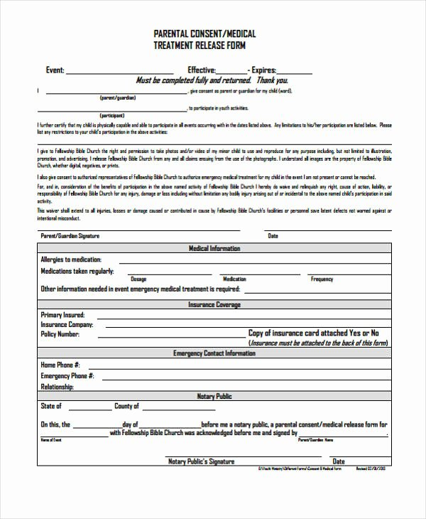 Parent Release form Template Best Of 24 Medical Release form Templates