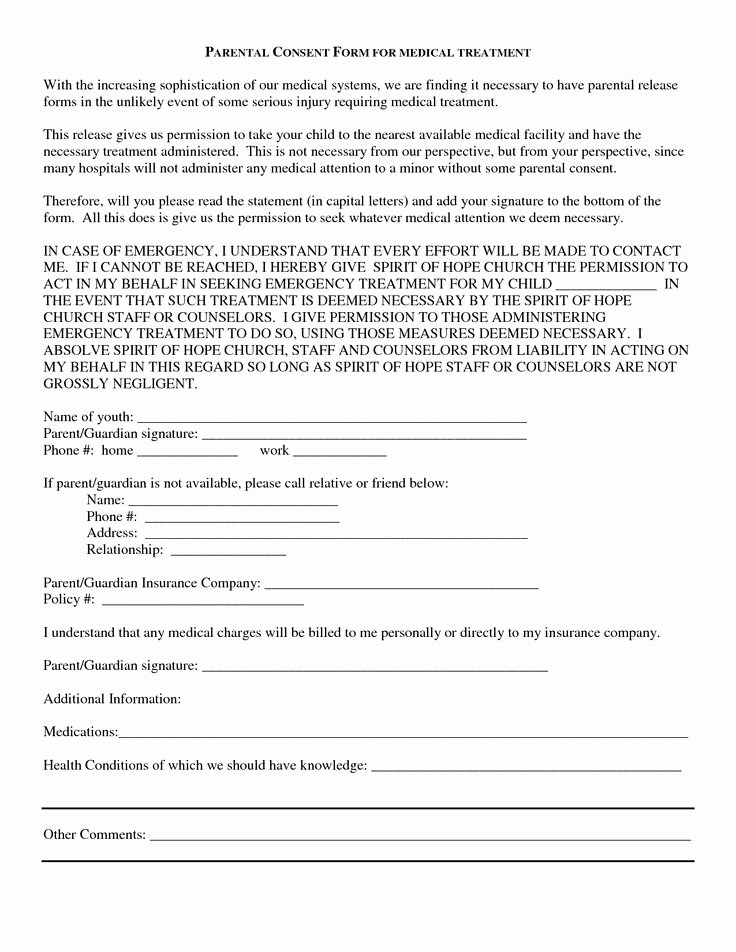 Parent Release form Template Elegant Medical Consent Release form