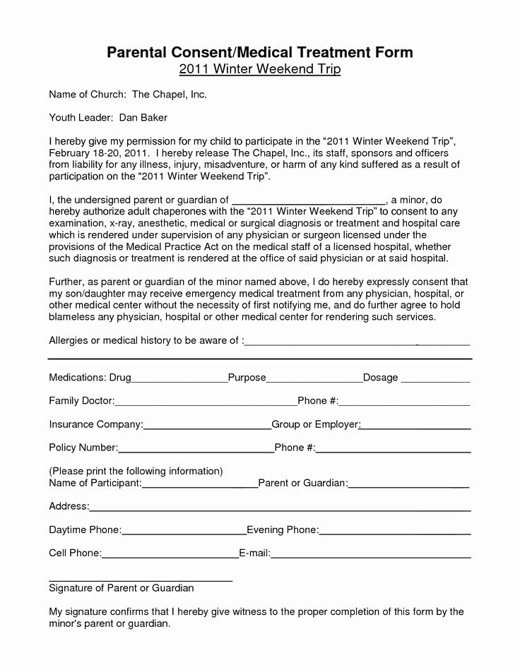Parent Release form Template Elegant Notarized Medical Consent form for Minor