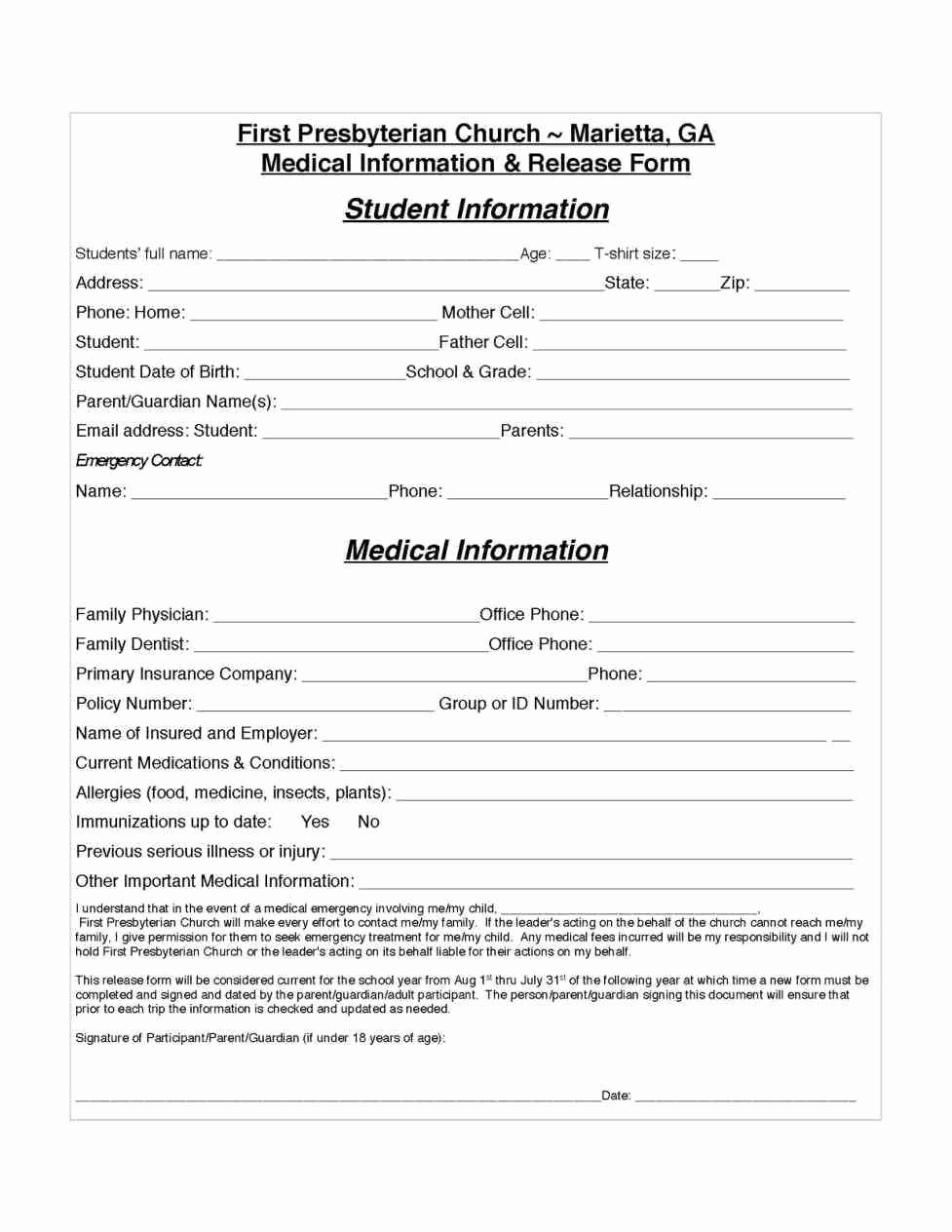 Parent Release form Template Elegant Parental Release form Template Sampletemplatez