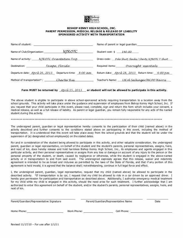 Parent Release form Template Elegant Spring Trip Permission form