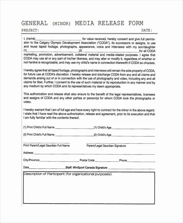 Parent Release form Template Inspirational Release form for Minors
