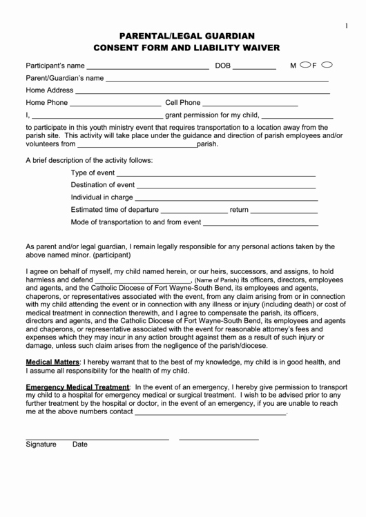 Parent Release form Template Luxury Parental Legal Guardian Consent form and Liability Waiver