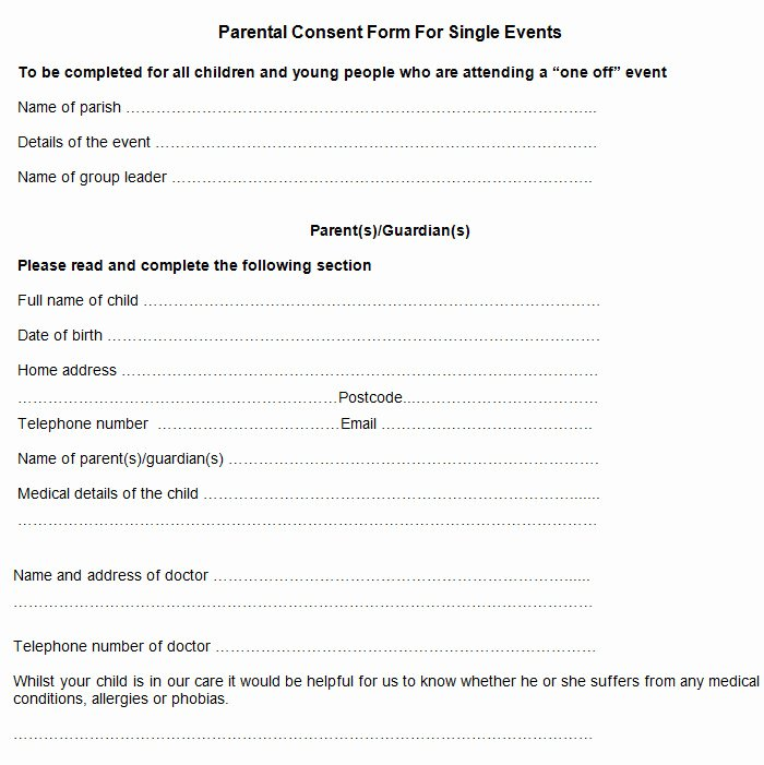 Parent Release form Template Luxury Sample Parental Consent form