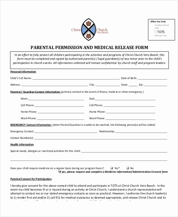 Parent Release form Template Luxury Sample Parental Release form 10 Examples In Word Pdf