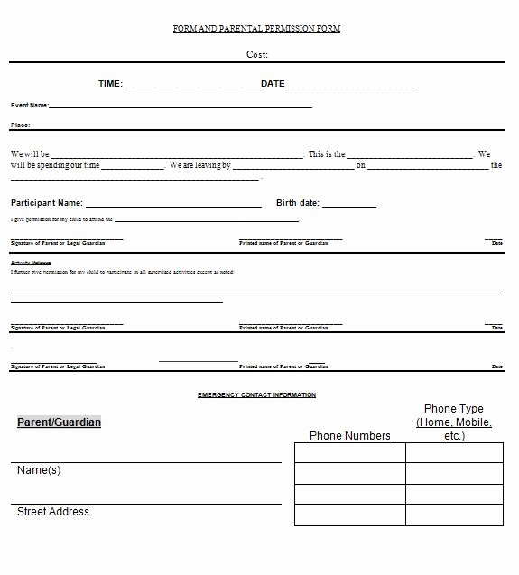 Parent Release form Template New 35 Permission Slip Templates & Field Trip forms Free