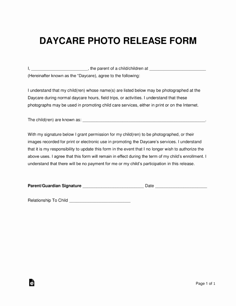 Parent Release form Template New Free Daycare Release form Word Pdf