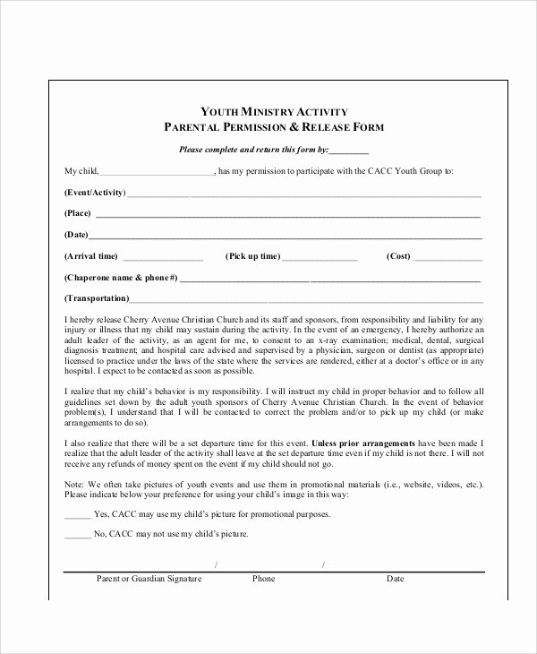 Parent Release form Template New Sample Parental Release form 10 Examples In Word Pdf
