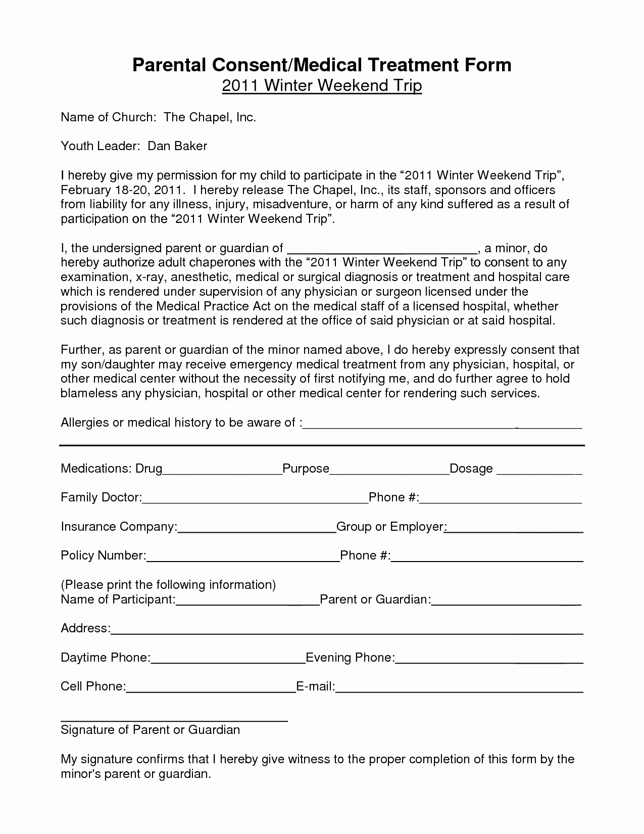 Parent Release form Template Unique Medical Treatment Consent Free Printable Documents