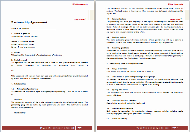 Partnership Agreement Template Word Awesome Partnership Agreement Template for Ms Word