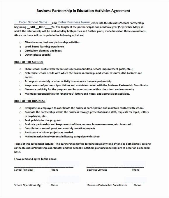 Partnership Agreement Template Word Beautiful Sample Business Partnership Agreement – 10 Documents In