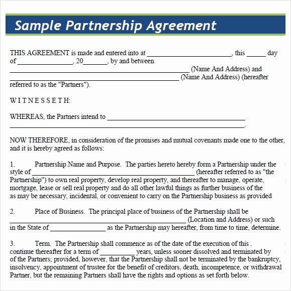 Partnership Agreement Template Word Beautiful Sample Partnership Agreement 15 Documents In Pdf Word