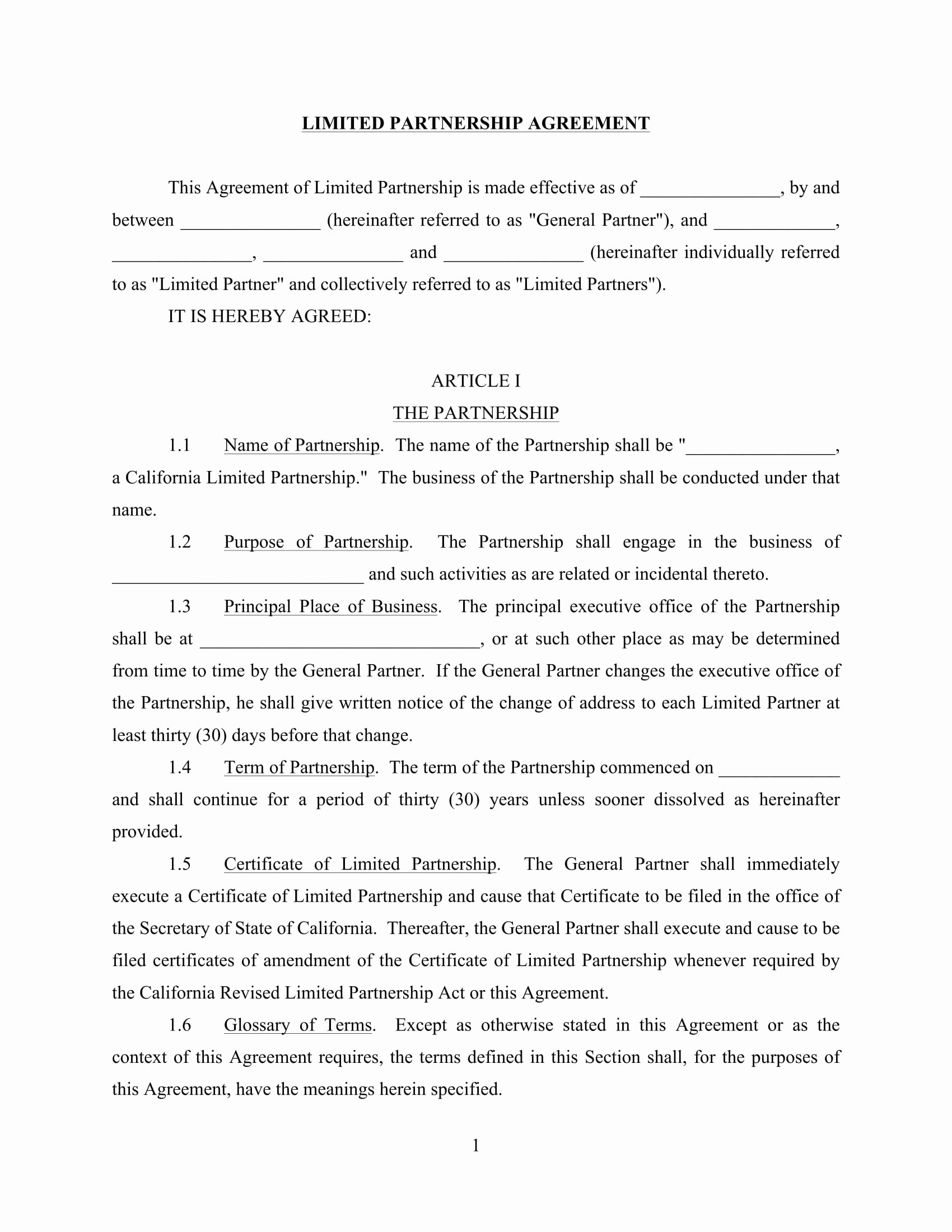 Partnership Agreement Template Word Best Of 4 Limited Partnership Agreement forms Word Pdf