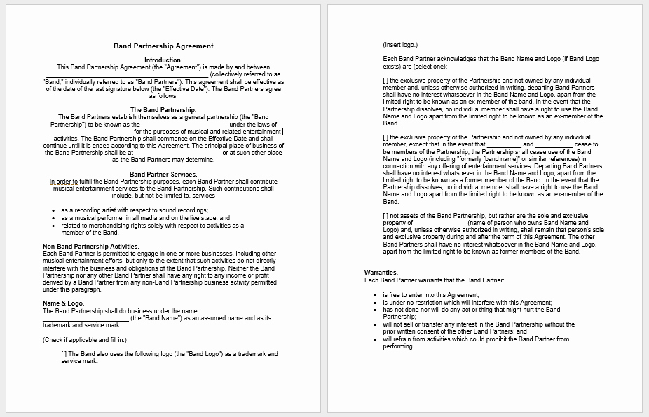 Partnership Agreement Template Word Best Of Partnership Agreement Templates 21 Free Samples or