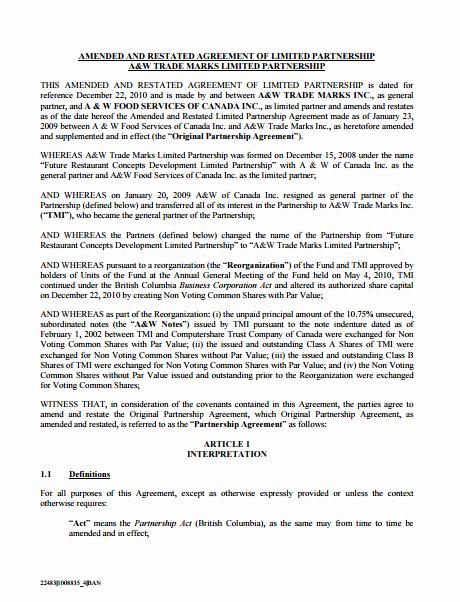 Partnership Agreement Template Word Fresh 10 Limited Partnership Agreement Templates Pdf Word