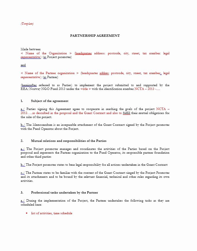 Partnership Agreement Template Word Inspirational 10 Partnership Agreement Templates