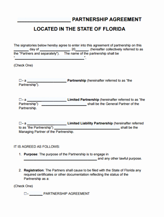 Partnership Agreement Template Word Lovely Free Florida Partnership Agreement Template Pdf