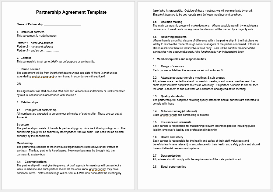 Partnership Agreement Template Word Lovely Partnership Agreement Templates 21 Free Samples or