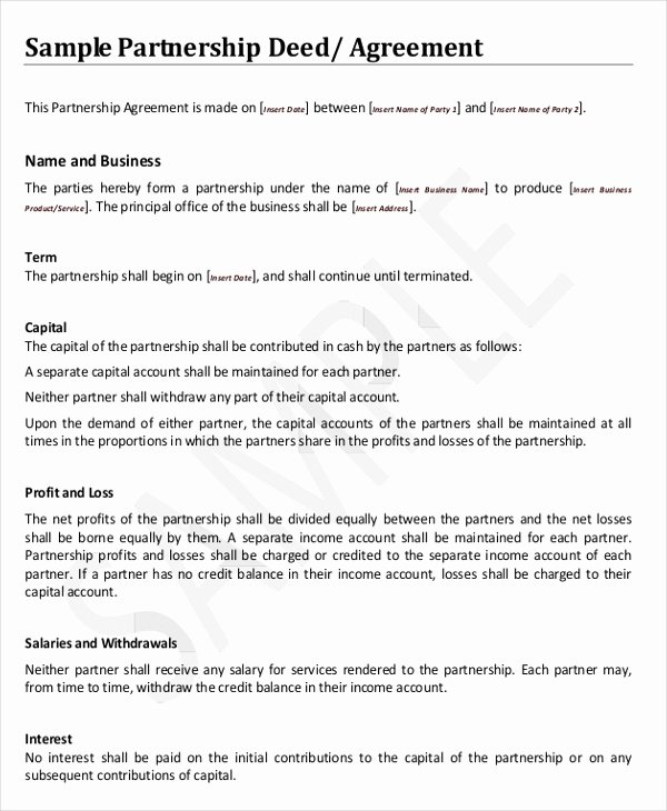 Partnership Agreement Template Word Luxury 8 Agreement Templates & Samples Word Pdf