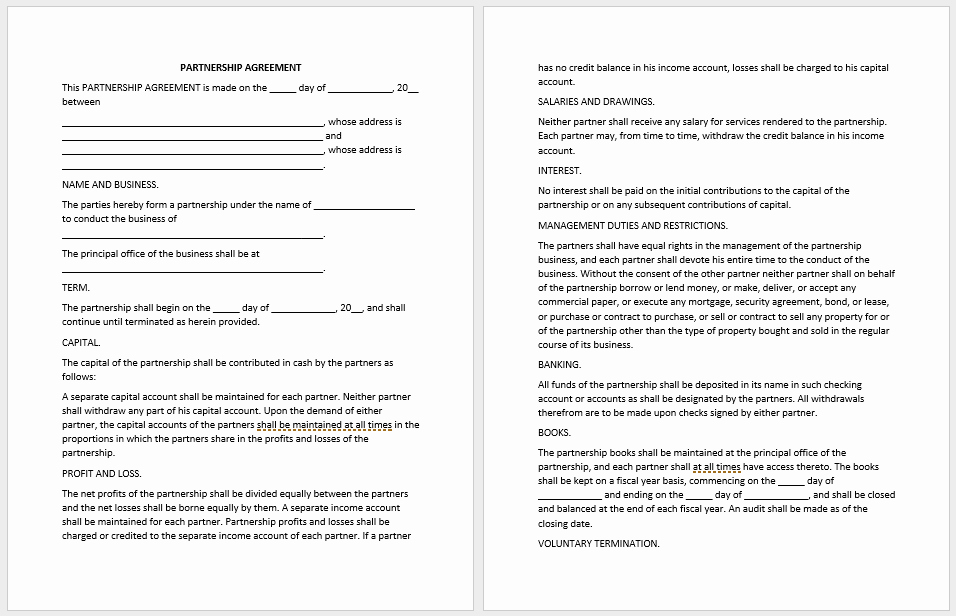 Partnership Agreement Template Word New Partnership Agreement Templates 21 Free Samples or