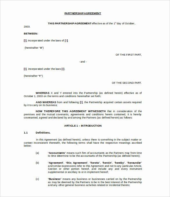 Partnership Agreement Template Word Unique Agreement Template – 20 Free Word Pdf Documents Download
