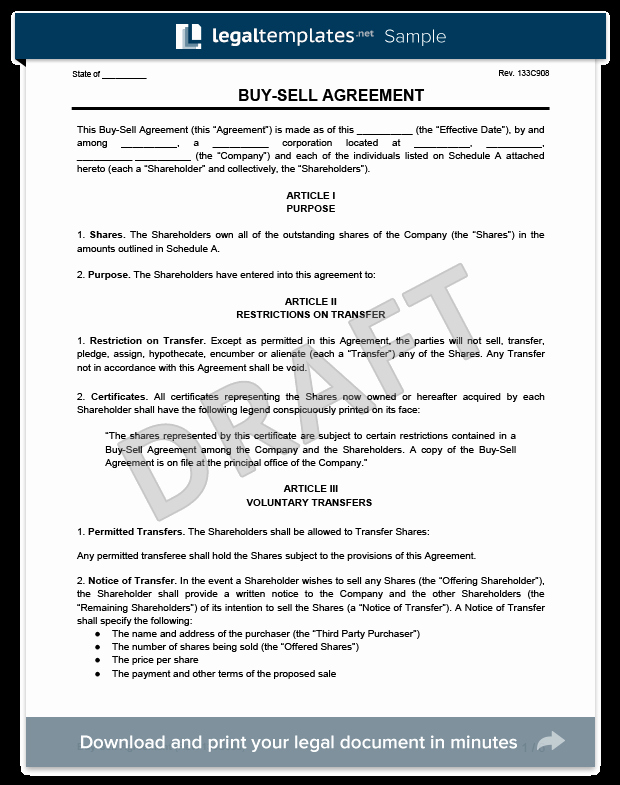 Partnership Buyout Agreement Template Beautiful Buy Sell Agreement Template