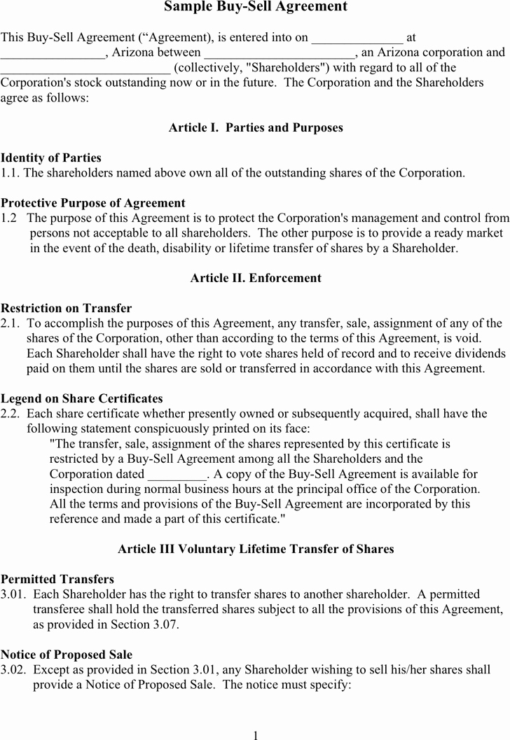 Partnership Buyout Agreement Template Fresh Free Sample Buy Sell Agreement Doc 57kb