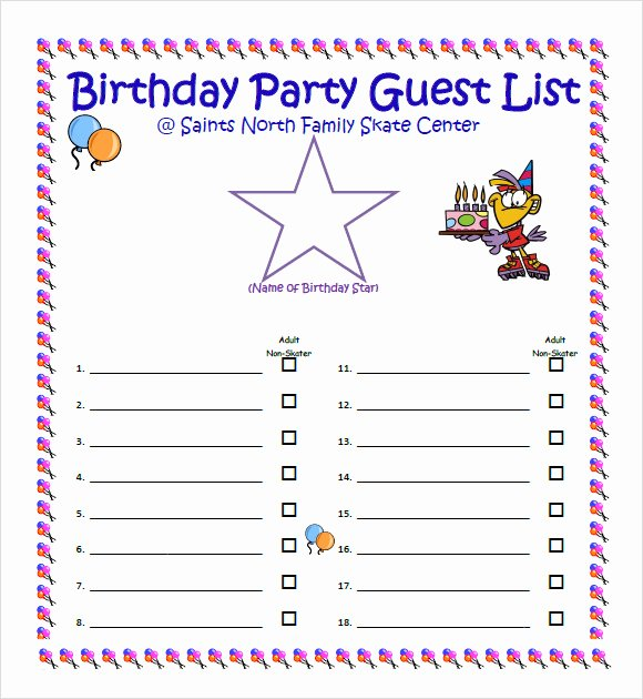 Party Guest List Template Awesome Free 8 Guest List Samples In Pdf Word