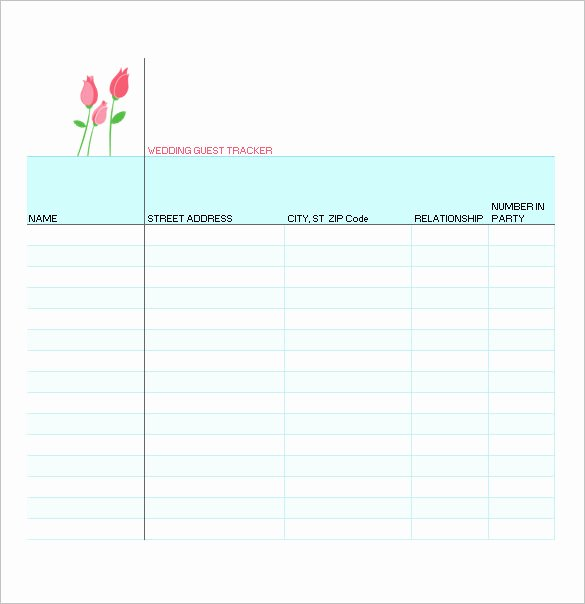 Party Guest List Template Beautiful 21 Free Wedding Party Guest List Templates Ms Fice