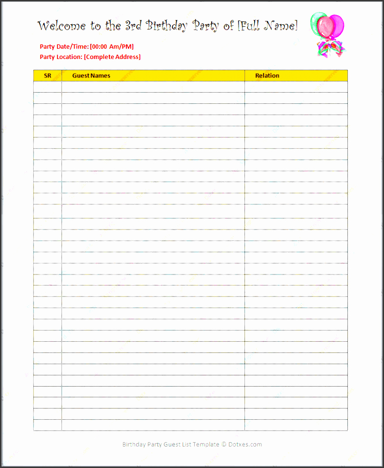 Party Guest List Template Beautiful 5 Graduation Party Guest List Template Sampletemplatess