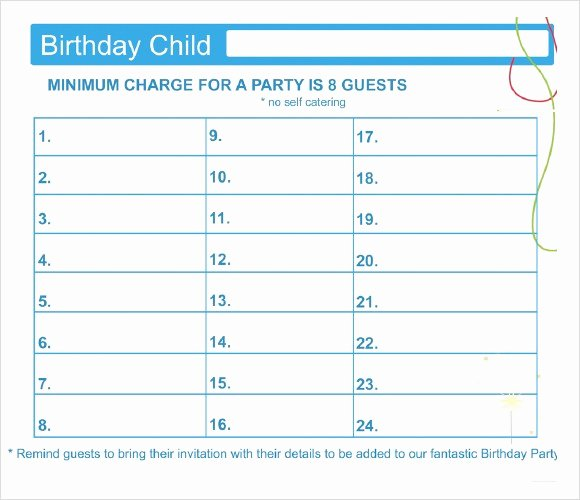 Party Guest List Template Elegant 21 Free Wedding Party Guest List Templates Ms Fice