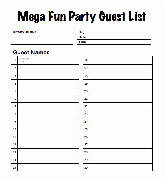 Party Guest List Template Fresh Free 8 Guest List Samples In Pdf Word