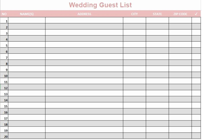 Party Guest List Template Lovely 21 Free Wedding Party Guest List Templates Ms Fice