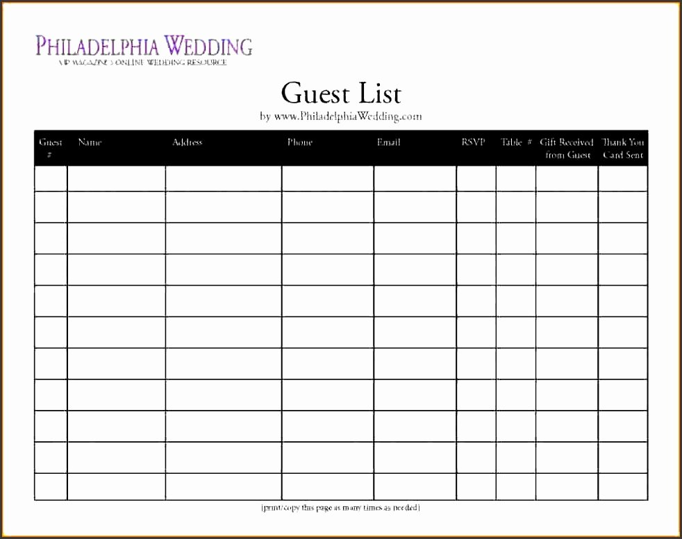 Party Guest List Template Lovely 8 Party Guest List Template Line Sampletemplatess