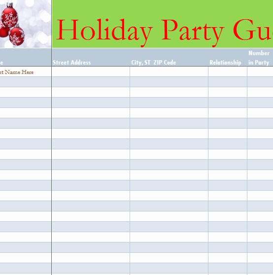 Party Guest List Template Lovely Holiday Party Guest List My Excel Templates