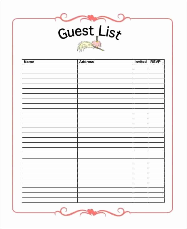 Party Guest List Template Luxury 10 Party Guest List Templates Word Excel Pdf formats