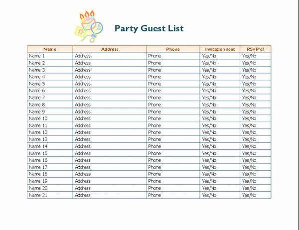 Party Guest List Template Luxury Party Guest List