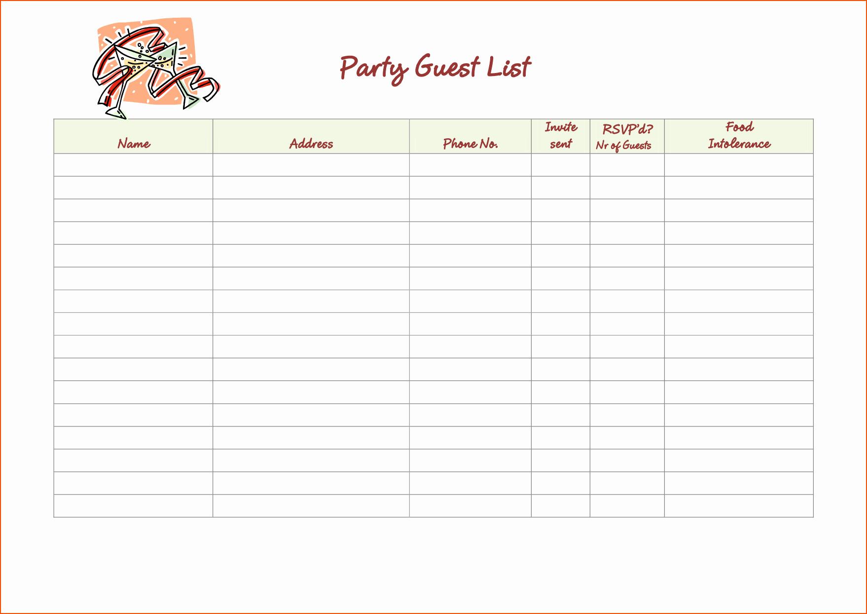 Party Guest List Template Unique 5 Party Guest List Template Bookletemplate