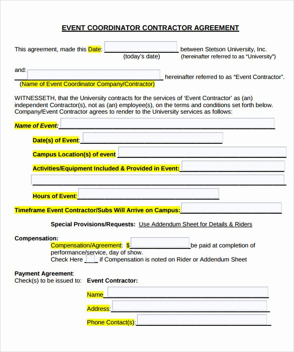 Party Planner Contract Template Awesome event Contract Template 25 Download Documents In Pdf