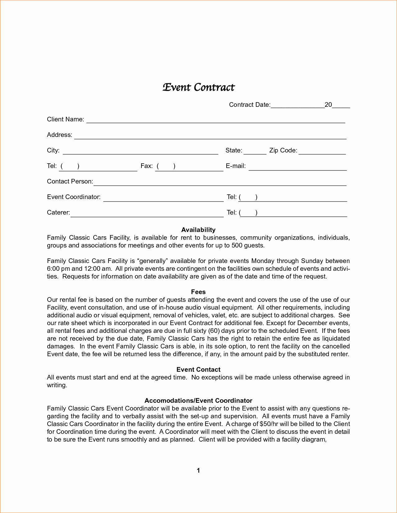 Party Planner Contract Template Beautiful 011 Plan Template event Contract Sample Contracts for
