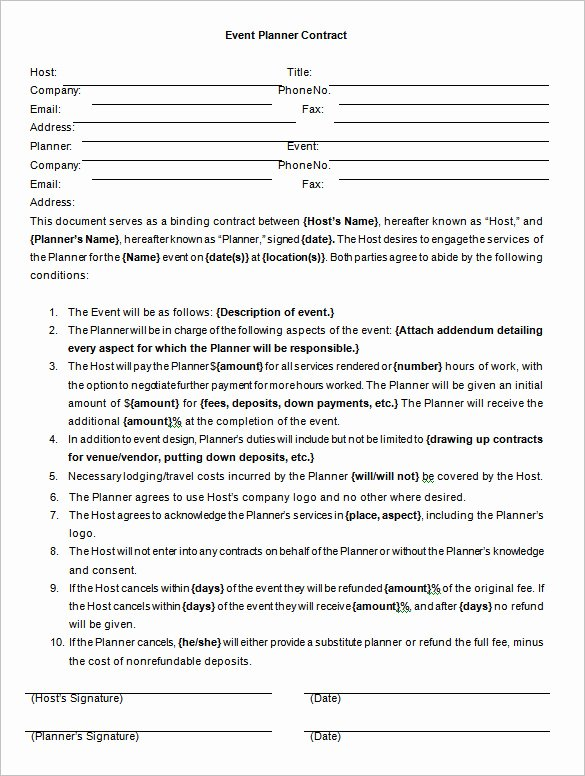 Party Planner Contract Template Best Of event Contract Template – 14 Free Word Excel Pdf