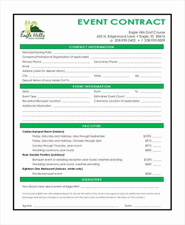 Party Planner Contract Template New Sample event Contract form 10 Free Documents In Word Pdf