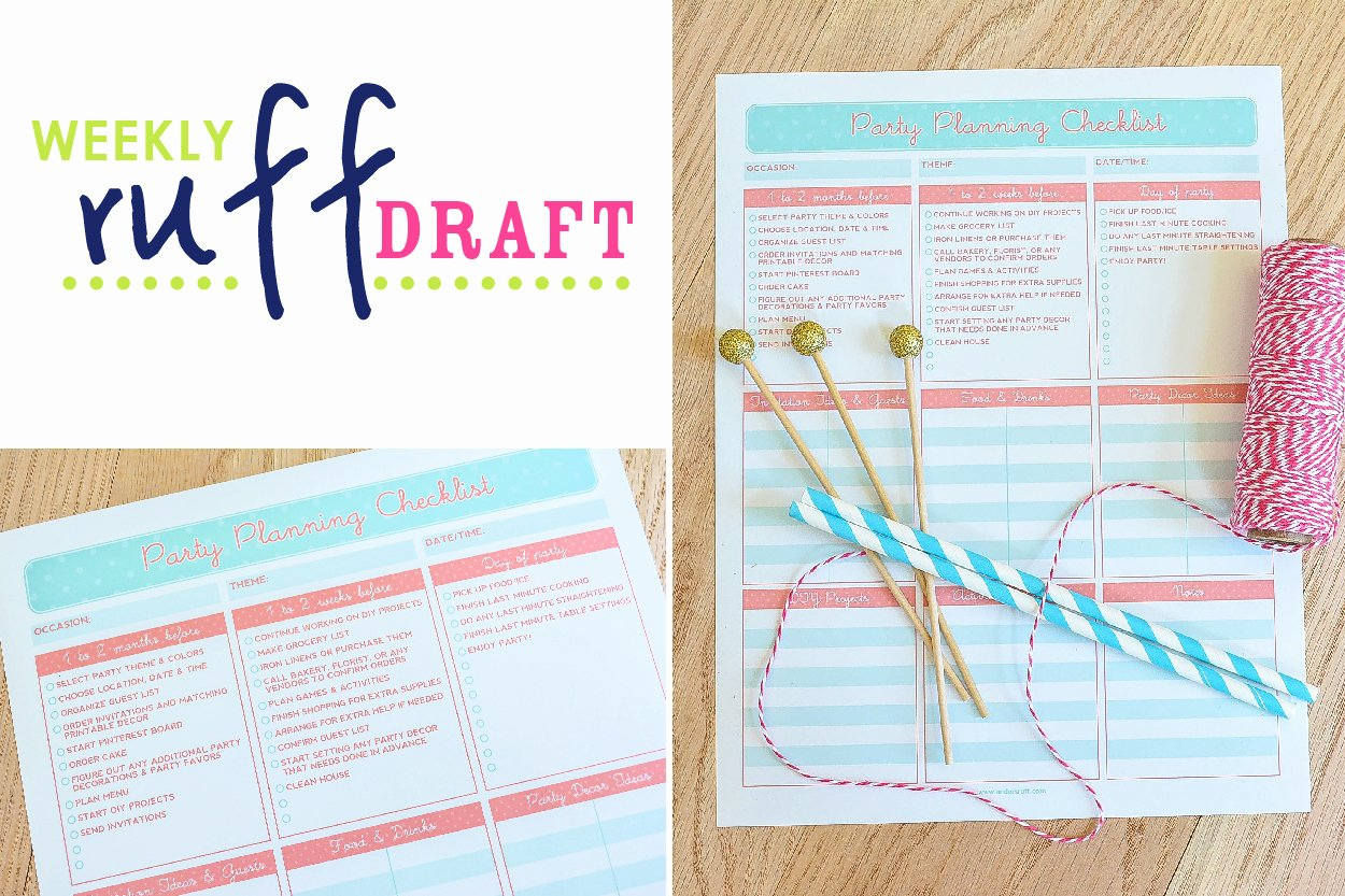 Party Planning Template Free Inspirational Ruff Draft Free Printable Party Planning Checklist