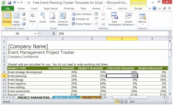 Party Planning Template Free Lovely Free event Planning Tracker Template for Excel