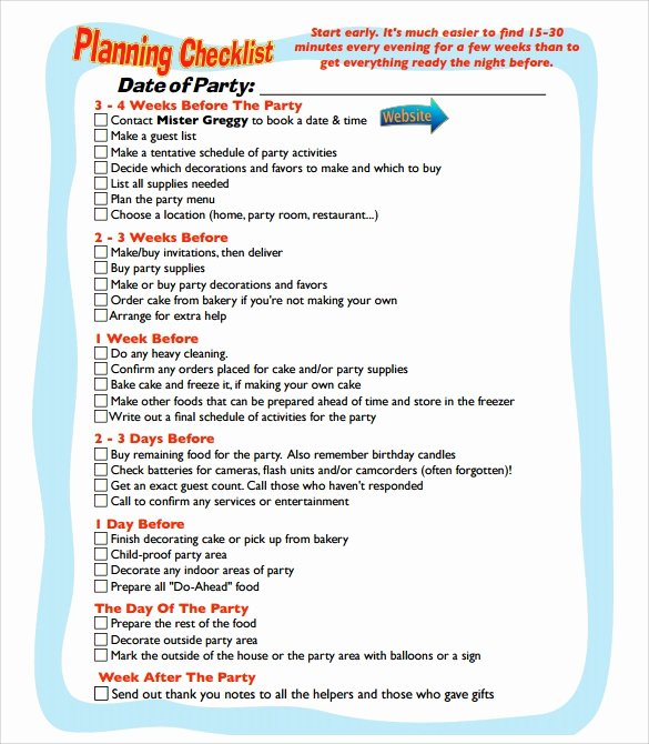 Party Planning Template Free Unique Party Planning Sample 8 Documents In Pdf