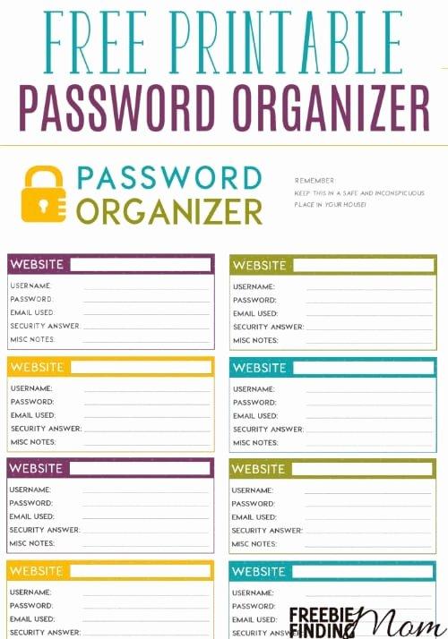 Password Log Template Pdf Fresh Free Printable Password organizer A K A Printable