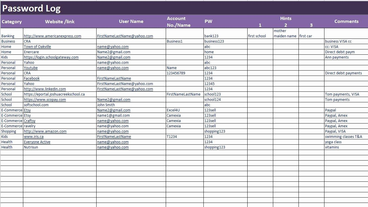 Password Log Template Pdf Lovely Password Log Excel and Pdf Template Password Tracker